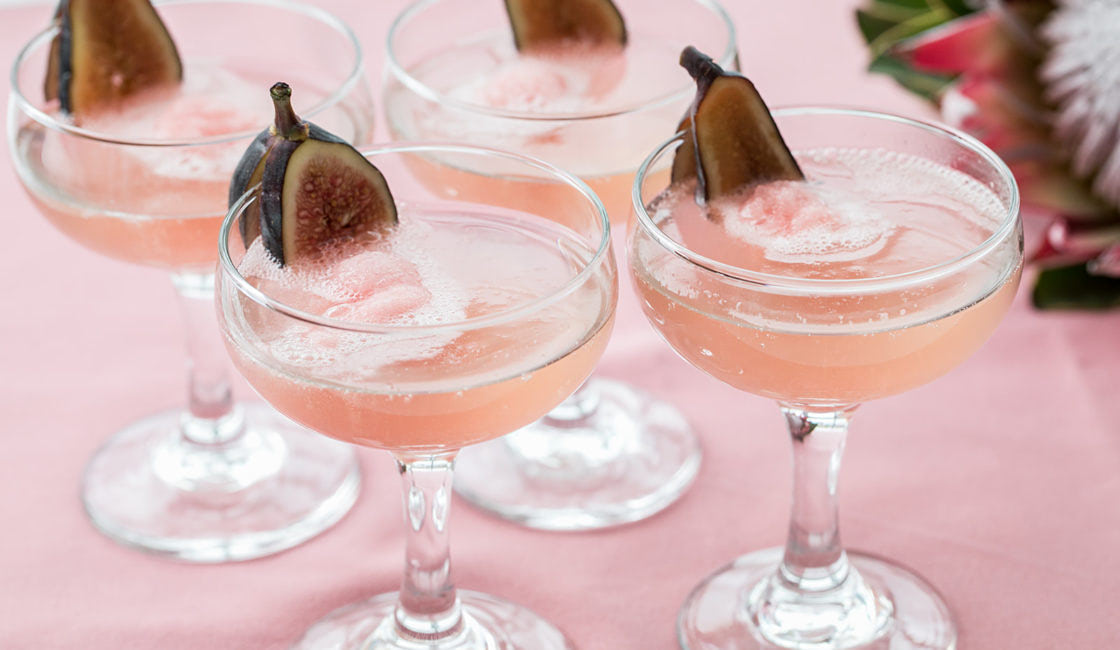 pink champagne with fig